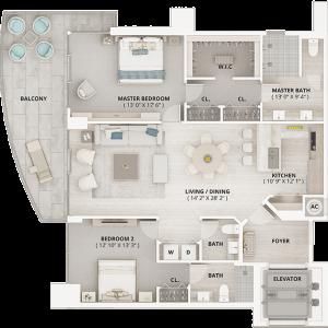 ONE - Beach Floor Plan